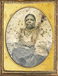 Photography:Ambrotypes, AMBROTYPE IMAGE OF COCONAKO, WIFE OF CHIEF SHABONNA. This quarter-plate ambrotype image of Coconako, wife of the Ottawa an... (Total: 1 Item)