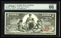Large Size:Silver Certificates, Fr. 248 $2 1896 Silver Certificate PMG Gem Uncirculated 66. Agorgeous Educational Deuce, with broad, even margins, wonderfu...