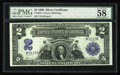 Large Size:Silver Certificates, Fr. 252* $2 1899 Silver Certificate Star Note PMG Choice About Unc58. The final note of this great trio....