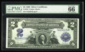 Large Size:Silver Certificates, Fr. 256 $2 1899 Silver Certificate PMG Gem Uncirculated 66. A really handsome Silver Certificate Deuce that appears to be fu...