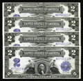 Large Size:Silver Certificates, Fr. 258 $2 1899 Silver Certificates Cut Sheet Of Four Very ChoiceNew. 1899 Deuces are far from a rare type, but it's a bit ...(Total: 4 notes)