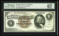 "Large Size:Silver Certificates, Fr. 263 $5 1886 Silver Certificate PMG Superb Gem Unc 67. ThisSilver Dollar Back has the comment, ""Exceptional Paper Qualit..."
