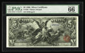 "Large Size:Silver Certificates, Fr. 268 $5 1896 Silver Certificate PMG Gem Uncirculated 66. Thesought-after ""Exceptional Paper Quality"" comment appears on ..."