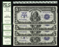 "Large Size:Silver Certificates, Fr. 272 $5 1899 Silver Certificate Cut Sheet of Four. PCGS hasgraded the ""B,"" ""C,"" and ""D"" notes 64PPQ, and the top of the ...(Total: 4 notes)"