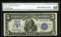Large Size:Silver Certificates, Fr. 277 $5 1899 Silver Certificate CGA Gem Uncirculated 68. Theoriginal embossing is so bold that no effort at all is requi...