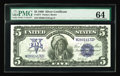 Large Size:Silver Certificates, Fr. 277 $5 1899 Silver Certificate PMG Choice Uncirculated 64. This example has decent margins encompassing well inked and v...