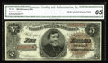 Large Size:Treasury Notes, Fr. 359 $5 1890 Treasury Note CGA Gem Uncirculated 65. About 100 examples are known of this number, including two short runs...