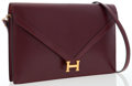 Luxury Accessories:Bags, Hermes Rouge H Calf Box Leather Lydie Bag with Gold Hardware. ...