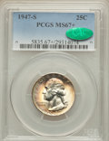 Washington Quarters, 1947-S 25C MS67+ PCGS. CAC. PCGS Population (181/3). NGC Census:(647/2). Mintage: 5,532,000. Numismedia Wsl. Price for pro...
