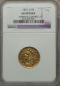Liberty Half Eagles, 1851-D $5 -- Harshly Cleaned -- NGC Details. AU. NGC Census: (11/74). PCGS Population (15/29). Mintage: 62,700. Numismedia ...