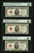 Small Size:Legal Tender Notes, Fr. 1528 $5 1928C Legal Tender Note. PMG Gem Uncirculated 66 EPQ. Three Examples.. ... (Total: 3 notes)