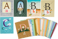 Complete Set of Designs for Alphabet Book, Presumably Unpublished. All are signed