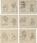 Books:Original Art, Twelve Pencil Preliminary Sketches Depicting Halloween from One of the Tiny Golden Books. Sketches depict animals dressed in... (Total: 12 Items)