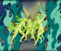 """Animation Art:Production Cel, Fantasia """"Night on Bald Mountain"""" Fire Nymphs Production Celand Courvoisier Background (Warner Brothers, 1940)...."""