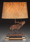 Miscellaneous:Lamps & Lighting, A BLACK FOREST STYLE CARVED WOOD ELK LAMP WITH SHADE, 20th century.31 inches high (78.7 cm) (including shade). PROPERTY F...