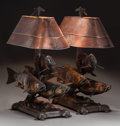 Lighting:Lamps, A PAIR OF GEORGE NORTHUP BRONZE AND COPPER TROUT TABLE LAMPS, circa 2002. Marks to both: Northup, 2002, 35/35; 33/35. 34... (Total: 2 Items)