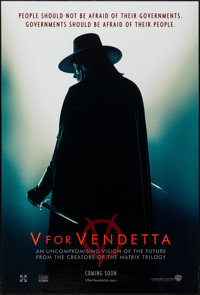 """V for Vendetta (Warner Brothers, 2005). One Sheet (27"""" X 40"""") DS Advance. Action"""
