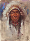 Works on Paper, HARLEY BROWN (American, b. 1939). Indian Chief, 1988. Pastel on paper. 12 x 9 inches (30.5 x 22.9 cm). Signed, dated and...