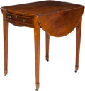 Furniture : English, A GEORGE III MAHOGANY AND ROSEWOOD PEMBROKE TABLE, circa 1810. 27-1/2 x 37 x 30 inches (69.9 x 94.0 x 76.2 cm) (extended). ...