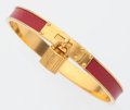 """Luxury Accessories:Accessories, Hermes Rouge Vif Courchevel Leather Kelly Cadena Bracelet with Gold Hardware. Very Good Condition. .25"""" Width, 2.25"""" D..."""