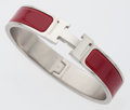 Luxury Accessories:Accessories, Hermes Red Narrow Clic-Clac H GM Bracelet with Palladium Hardware....