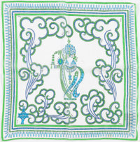 Emilio Pucci Green & Blue Cotton Scarf