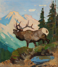 CARL CLEMENS MORITZ RUNGIUS (American, 1869-1959) Elk in the High Country, circa 1936 Oil on paper