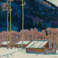 ERNEST MARTIN HENNINGS (American, 1886-1956) Cabins in the Blue Hills Oil on board 14 x 14 inches