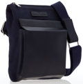 Luxury Accessories:Bags, Trussardi Navy Blue Leather & Canvas Waist Bag. ...