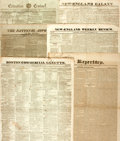"Miscellaneous:Newspaper, Six Early Nineteenth Century Newspapers including: New-EnglandGalaxy. Four pages, 14.5"" x 20"", November 25, 1825. [..."