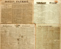 Miscellaneous:Newspaper, [Napoleon Bonaparte]. Four Nineteenth Century Newspapers withNapoleon Content including: Boston Patriot. Four pages...
