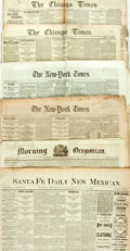 "Miscellaneous:Newspaper, Six Early Newspapers including: Morning Oregonian. Fourpage, 17.25"" x 23.5"", Portland, July 5, 1876. [and:] San..."