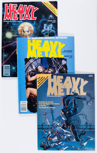 Heavy Metal Complete Run in Binders Group (HM Communications, 1977-89) Condition: Average VF-.... (Total: 2 Box Lots)