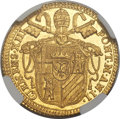 Italy, Italy: Papal States. Clement XIII gold Zecchino 1759 Anno II MS63NGC,...