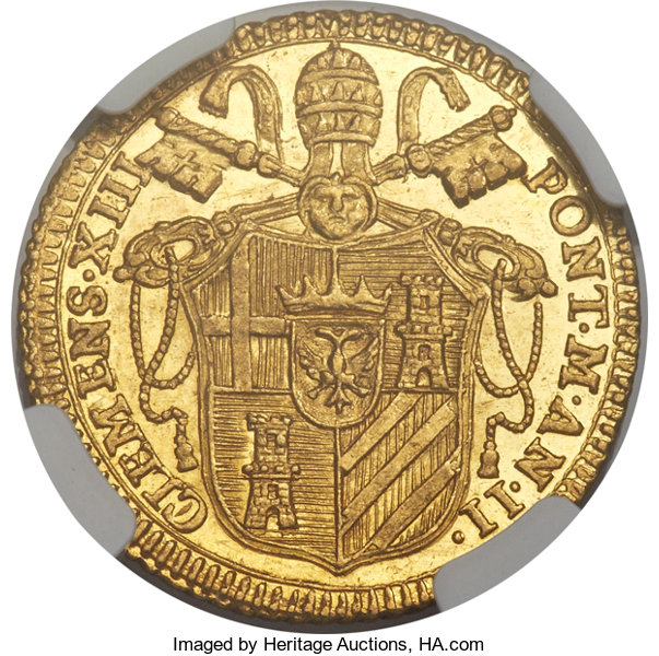 Italy Papal States Clement Xiii Gold Zecchino 1759 Anno Ii