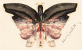 Fine Art - Painting, American:Antique  (Pre 1900), ALBERT BIERSTADT (American, 1830-1902). Pink Butterfly. Oiland pencil on paper. 5 x 8 inches (12.7 x 20.3 cm). Signed l...