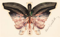 ALBERT BIERSTADT (American, 1830-1902) Pink Butterfly Oil and pencil on paper 5 x 8 inches (12.7