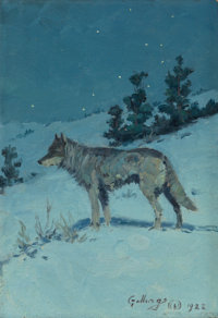 ELLING WILLIAM GOLLINGS (American, 1878-1932) Lone Wolf in Starlight Oil on board 10 x 7 inches (