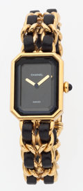 Luxury Accessories:Accessories, Chanel Premiere Ladies Watch with Classic Gold Chain and BlackLeather Strap. ...