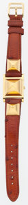 Luxury Accessories:Accessories, Hermes Etrusque Ostrich Medor Watch with Gold Hardware. ...