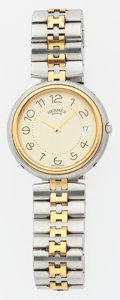 Luxury Accessories:Accessories, Hermes Stainless Steel & Brushed Gold Clipper PM Watch. ...