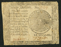 Low Serial Number Continental Currency September 26, 1778 $60 Very Good-Fine