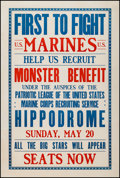 "Movie Posters:War, World War I Propaganda (1917). Marine Recruitment Poster (28.25"" X41.75"") ""First to Fight."" War.. ..."