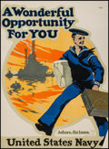"Movie Posters:War, World War I Propaganda (c 1917). United States Navy RecruitmentPoster (20.5"" X 28"") ""A Wonderful Opportunity For You."" War...."