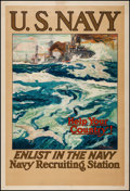 "Movie Posters:War, World War I Propaganda (c. 1917). United States Navy RecruitmentPoster (28"" X 41"") ""Help Your Country! Enlist in the Navy.""..."