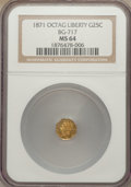 California Fractional Gold: , 1871 25C Liberty Octagonal 25 Cents, BG-717, R.3, MS64 NGC. NGCCensus: (13/22). PCGS Population (62/73). ...
