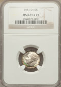 Roosevelt Dimes: , 1951-D 10C MS67+ ★ Full Bands NGC. NGC Census: (73/1). PCGS Population (53/3). Mintage: 56,52...