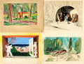 Books:Original Art, Four Miscellaneous Paintings. 1930s. All are signed by Williams. Two are matted and one is adhered to backing. Various s... (Total: 4 Items)