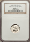 SMS Roosevelt Dimes, 2005-D 10C Satin SMS MS69 Full Bands NGC. Ex: Kiraly Collection.NGC Census: (3/0). PCGS Population (29/0)....