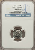 Roosevelt Dimes, 2011-P 10C Early Releases MS69 Full Bands NGC. ...
